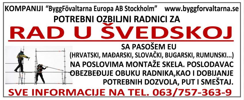 Potrebni ozbiljni radnici za rad u Švedskoj